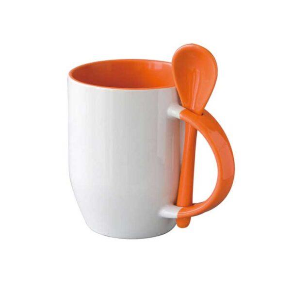 Šalica sa žlicom, narančasta