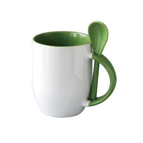 Šalica sa žlicom, svijetlo zelena