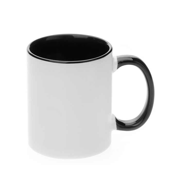 crna šalica za sublimaciju, crna unutrašnjost i crna ručka