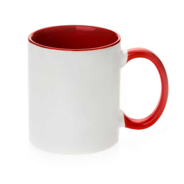 Šalica za sublimaciju, 11OZ, crvena, ručka i unutrašnjost u boji