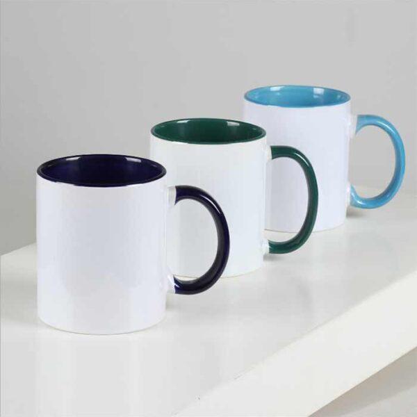 Šalica za sublimaciju, 11OZ, ručka i unutrašnjost u boji