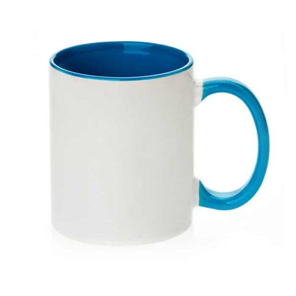 Šalica za sublimaciju, 11OZ, svijetlo plava, ručka i unutrašnjost u boji