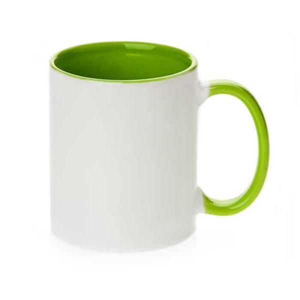 Šalica za sublimaciju, 11OZ, svijetlo zelena, ručka i unutrašnjost u boji