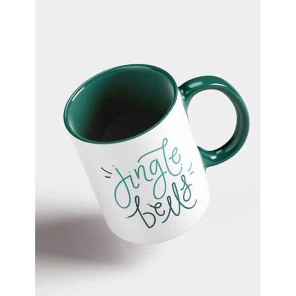 Šalica za sublimaciju, 11OZ, zelena, ručka i unutrašnjost u boji