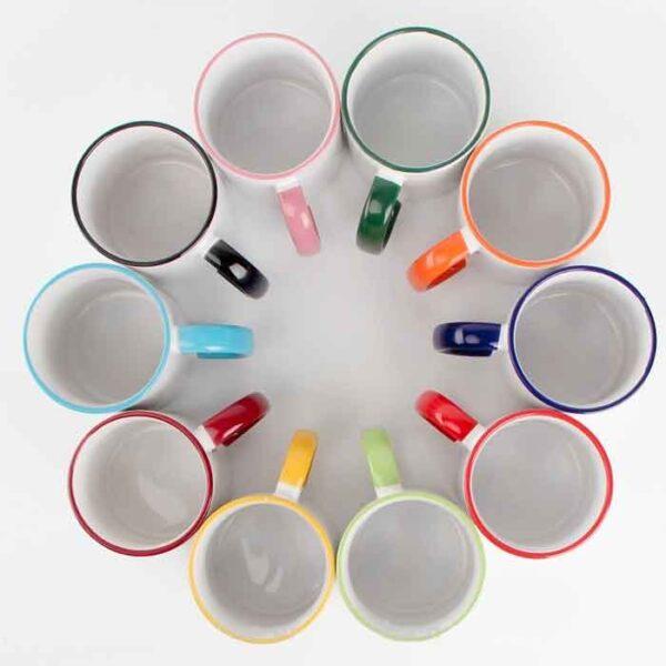 Šalica za sublimaciju, 11OZ, cambridge blue, rub i ručka u boji