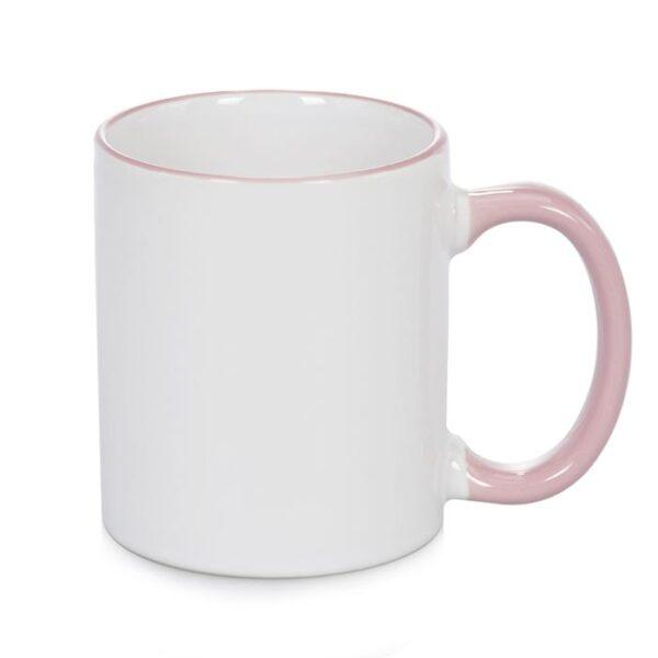 šalica-za-sublimaciju, obojana-ručka-i-rub, roza