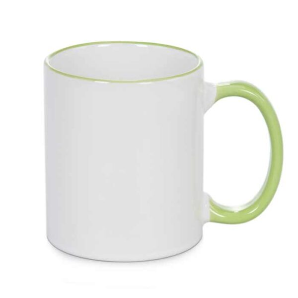šalica-za-sublimaciju, obojana-ručka-i-rub, svijetlo-zelena